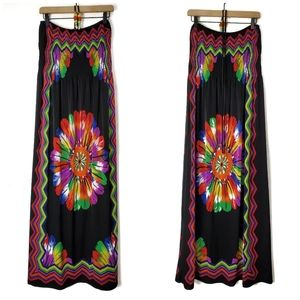 Just Love | Rainbow Flower Feather Maxi Dress